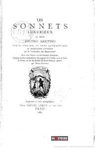 les Sonnets luxurieux de Pierre l'Arétin - couverture