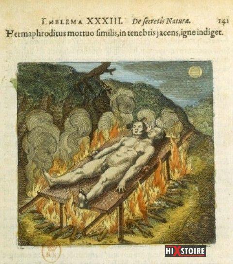 Hermaphrodite sur le bûcher / Figure 33 de L'Atalanta Fugiens / Michael Maier / (1617)
