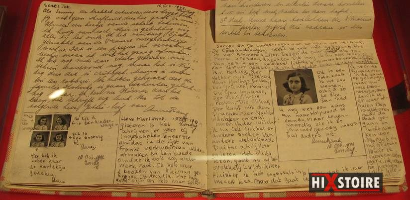 Le Journal d'Anne Frank photographié au Musée Anne Frank de Berlin. (crédit : Flickr/Heather Cowper)