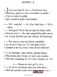 Les Sonnets luxurieux de Pierre l'Arétin - 1526 - Sonnet 10