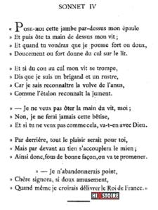 les Sonnets luxurieux de Pierre l'Arétin - 1526 - Sonnet 4