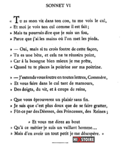 les Sonnets luxurieux de Pierre l'Arétin - 1526 - Sonnet 6
