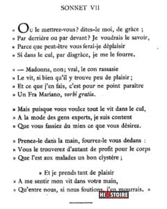 les Sonnets luxurieux de Pierre l'Arétin - 1526 - Sonnet 7