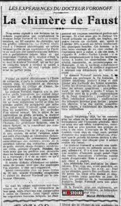 Article sur le Dr Voronoff paru dans le Radical du 10 octobre 1922