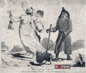 """""""Ah ! s'il y voyoit !..."""" Gravure satirique anonyme de 1797 montrant un aveugle déchirant par mégarde la robe transparente d'une Merveilleuse qui expose ainsi ses fesses au public."""