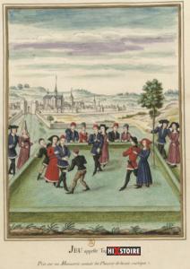 """Un jeu dit """"le Tape-cul"""" - Fait partie d'une série de quatre miniatures représentant des scènes pastorales de la fin du XVe siècle, tirées d'un manuscrit des """"Plaisirs de la vie rustique"""""""